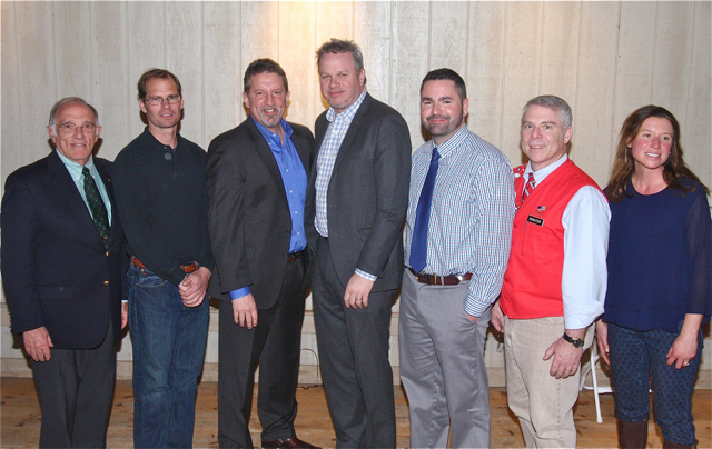 "Suffolk Times People of the Year (from left) Public Servant of the Year: Ted Webb; Person of the Year: Jeff Heidtmann; Business People of the Year: Greenport Harbor Brewery's Rich Vandenburgh and John Liegey; Sports Person of the Year: Matt Litchhult; Educator of the Year: Phillip ""Skip"" Munisteri and Northforker.com Person of the Year: Holly Browder. (Credit: Barbaraellen Koch)"