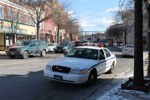 PAUL SQUIRE PHOTO | A man was hospitalized after he was struck on West Main Street Thursday morning.