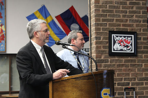 PAUL SQUIRE PHOTO | Superintendent Steven Cohen presents the budget forecast for next school year at Tuesday's school board meeting.
