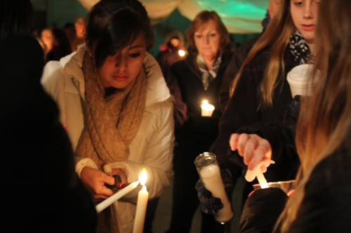A candlelight vigil was held in Wading River on Monday to honor 17-year-old Danielle Lawrence. (Credit: Jen Nuzzo photos)