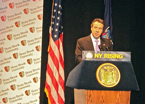 "PAUL SQUIRE PHOTO | Governor Andrew Cuomo shares his ""State of the State"" address at Stony Brook University Thursday afternoon."