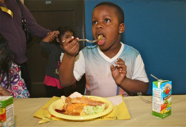 Students enjoy the feast. (Credit: Barbaraellen Koch)