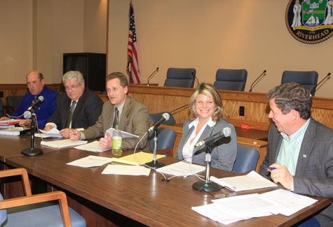 NEWS-REVIEW FILE PHOTO | Riverhead Town Board members (from left) Jim Wooten, John Dunleavy, Supervisor Sean Walter, Jodi Giglio and George Gabrielsen.