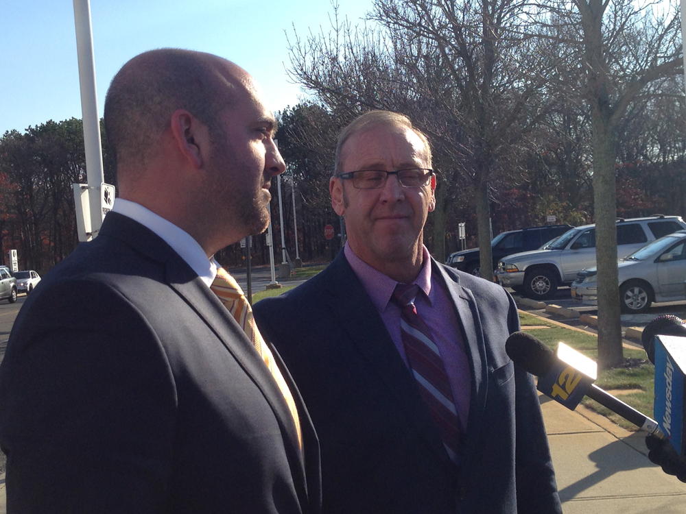 Former Southampton Town Councilman Brade Bender with his Brian DeSessa outside federal court in Central Islip Tuesday.