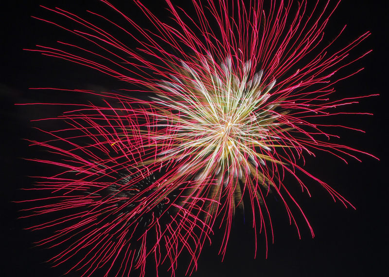 Fireworks light up the sky over Tristin Kreuger's Calverton home Monday night. (Credit: Paul Squire)