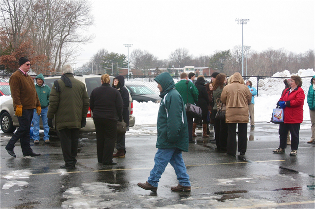 Students and faculty were evacuated on Friday at McGann-Mercy. (Credit: Barbaraellen Koch)