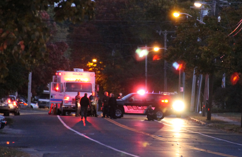 PAUL SQUIRE PHOTO | Southampton Town and Suffolk County police at the scene of where a reported hand grenade was thrown from a car.
