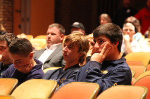 PAUL SQUIRE PHOTO | SWR students listen on at Tuesday night's school board meeting.