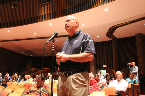 PAUL SQUIRE PHOTO | Longtime SWR lacrosse coach Tom Rotanz speaks before the school board Tuesday night.