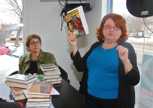 BARBARAELLEN KOCH PHOTO | Riverhead Free Library reference coordinator Elva Zeichner (right) and reference librarian Joyce Rienzo suggested novels and non-fiction by Latin American authors at lunch session Friday.