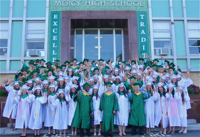 The McGann-Mercy Class of 2015 at Wednesday's graduation ceremony. (Credit: Barbaraellen Koch)