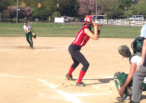 McGann-Mercy freshman Isabella Sorgi fires a pitch against Pierson Monday. (Credit: Joe Werkmeister)