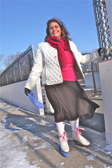 BARBARAELLEN KOCH PHOTO  |  Councilman George Gabrielsen's wife Janice arrives at the rink with freshly sharpened skates.