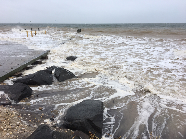 A view of Iron Pier Beach Tuesday morning at about 8:30 a.m. (Credit: Kelly Zegers)