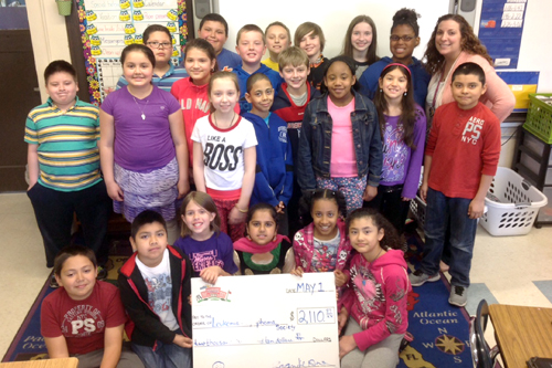 The students in Janine Weber's fourth grade class were the winners of the Pennies for Patients fundraiser. (Credit: Riverhead School District)
