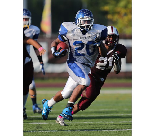 Football: Cheatom's three TDs power Riverhead to victory