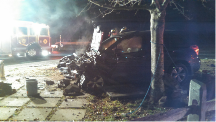 COURTESY PHOTO  Jamesport firefighters found this damaged car upon arriving at a crash scene in Jamesport Monday night.