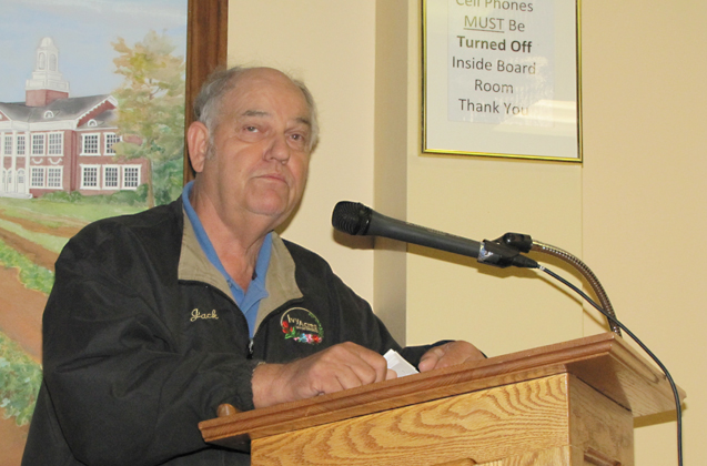 Jack Van de Wetering speaks at a Riverhead Town board meeting Tuesday. (Credit: Tim Gannon)
