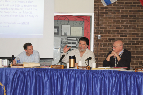 PAUL SQUIRE PHOTO  |  Jack Costas (Center) discusses the new requirements to have proposition construction worked approved by the state at Tuesday night's meeting.