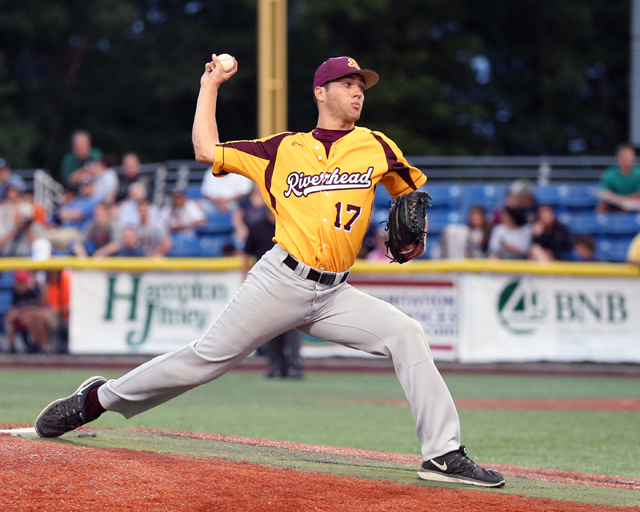 Riverhead Tomcat's Dan Jagiello pitched 1 2/3 scoreless innings in Wednesday's all-star game. (Credit: Daniel De Mato)