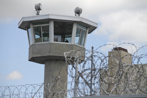 A security tower at the Suffolk County Correctional Facility in Riverside. (Credit: Paul Squire)