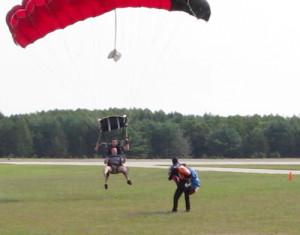 Mr. Halpin safely reaches the ground. (Credit: Tim Gannon)