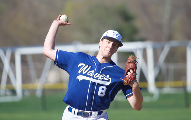 Riverhead pitcher John Wendt threw six innings against Half Hollow Hills West Tuesday, giving up four runs. (Credit: Robert O'Rourk)