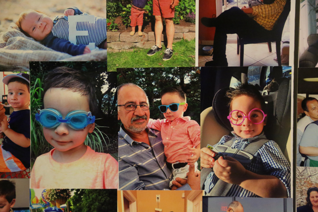 A collage of photos that show Mr. Aceituno pictured with his 2-year-old grandson Esteban. (Credit: Joe Werkmeister)