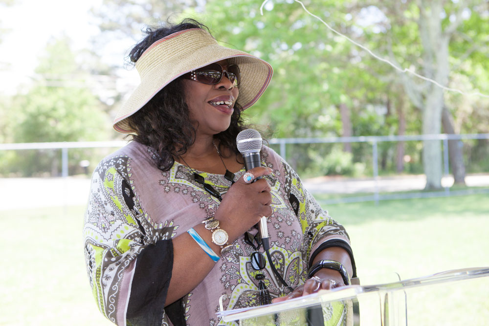 Elder Harriet Gilliam gives a speech during the Juneteenth celebration. (Credit: Katharine Schroeder photos)