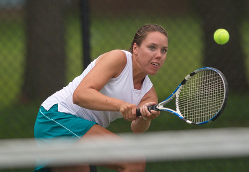 GARRET MEADE PHOTO | Mattituck High School graduate Kate Freudenberg won the women's singles final in the Bob Wall Memorial Tennis Tournament at Tasker Park in Peconic Saturday morning.