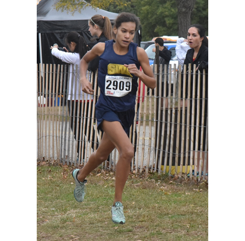 Shoreham-Wading River freshman Katherine Lee ran the fastest time at Tuesday's division championships at Sunken Meadow State Park. (Credit: Robert O'Rourk)