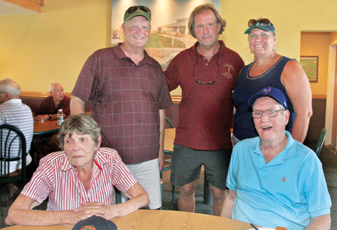 The Kelly Family at the 2011 Memorial Golf tournament held at Cherry Creek Links in Riverhead: (from left) Mom and Dad (seated) Sue and Emmet Kelly and children (standing)  Jim (left), Bob (center) and Suzanne.