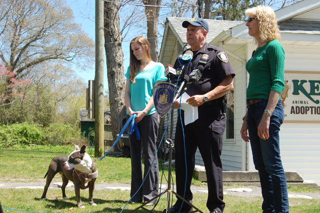 From left: Ashely Pearson, with Bella, Roy Gross and Pam Green speaking at Kent Animal Shelter on Wednesday. (Credit: Nicole Smith)