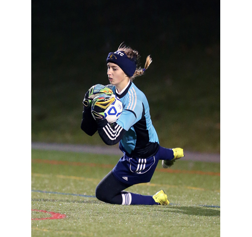 Shoreham goalkeeper Lydia Kessel makes a save in the first half against South Side in the Long Island Championship. (Credit: Daniel De Mato)