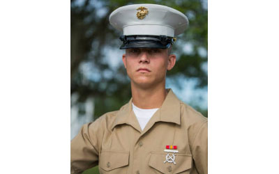 Marine Corps Pfc. Kevin Thomas, of Jamesport, graduated top of his class at boot camp. (Credit: Courtesy)