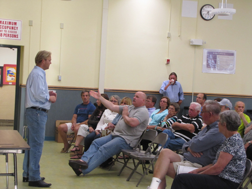 Kurt Van de Wetering speaks to residents at the Greater Calverton Civic Association Wednesday