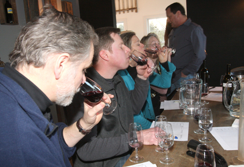Tasting for the Long Island Merlot Alliance's annual Merliance blend in 2011. (Credit: Barbaraellen Koch, file)