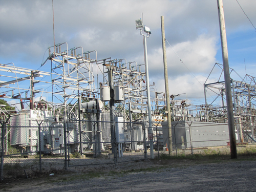 PSEG-LI is considering building a new substation at EPCAL. Pictured is the existing Riverhead substation off West Main St. File photo by Tim Gannon