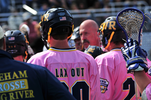 BILL LANDON PHOTO  |  Shoreham-Wading River players wore pink jerseys Saturday as part of the Lax-Out Cancer fundraiser game against Garden City.