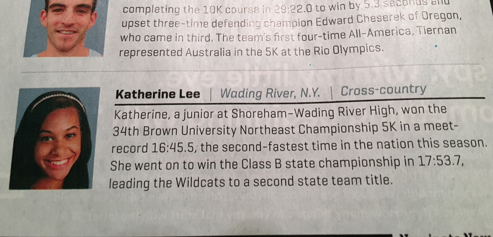 Katherine Lee was featured in Sports Illustrated's Faces in the Crowd feature, which highlights amateur athletes.