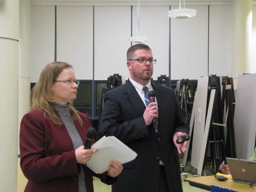 Caption:  District ESL director Liz Scaduto and Assistant Superintendent David Wicks discussed new state regulations for students who need instruction in English Tuesday