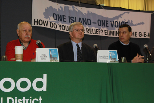 From left, state Senator Ken LaValle, Assemblyman Fred Thiele and Assemblyman Anthony Palumbo at Saturday's Longwood Legislative Breakfast in Middle Island. (Jennifer Gustavson photo)