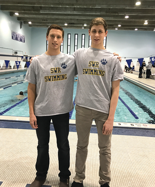 Twins Josh, left, and Jason Louser both represented Shoreham-Wading River in the Section XI Championships. (Courtesy photo)
