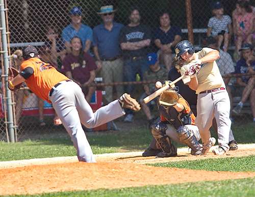 GARRET MEADE PHOTO  |  Riverhead Tomcats first baseman Jimmy Luppens went 4-for-5 in Game 1 Monday.
