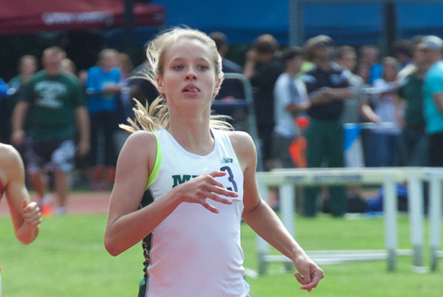 McGann-Mercy junior Meg Tuthill finished second in the 800. (Credit: Robert O'Rourk)