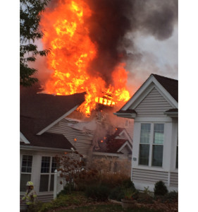 A home went up in flames on Thursday afternoon in Northville. (Credit: Joseph Tuminello)