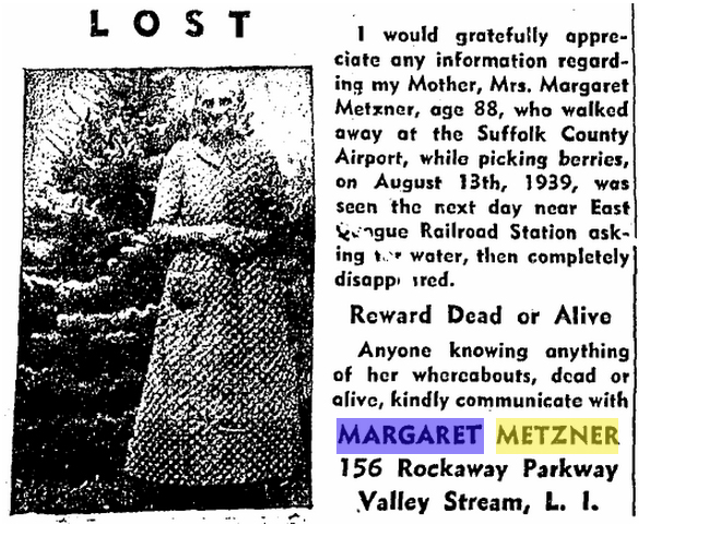 A 'lost' ad published frequently in the County Review after Margaret Metzner disappeared in 1939. (Source:Livebrary/County Review archives)