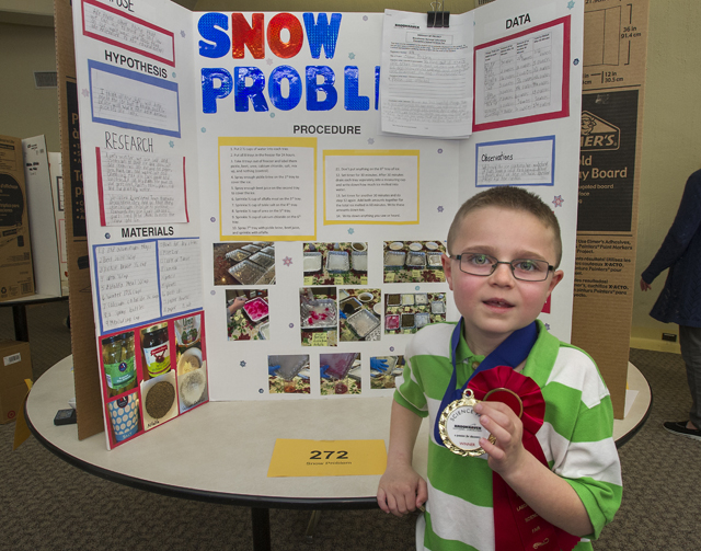Mark Burns, a second-grade student at Riley Avenue Elementary School won first place at the Brookhaven National Laboratory Science Fair May 7. (Credit: BNL courtesy)