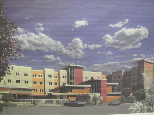 A rendering of the proposed 114-room Marriott Residence Inn on Route 58