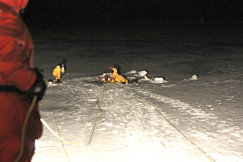 Volunteer firefighters practicing ice rescues in Mattituck. (Credit: Jen Nuzzo)